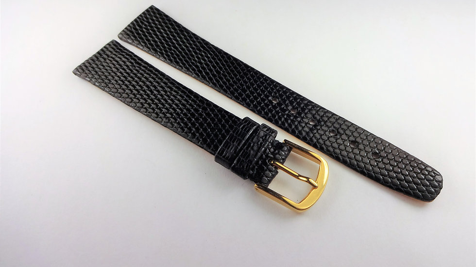 Concord 18mm Black Genuine Leather Lizard Grain