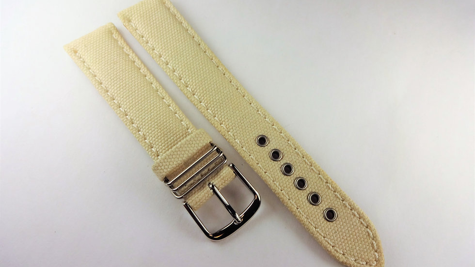 Replacement For Hamilton 18mm Cream Genuine Leather Fabric Top