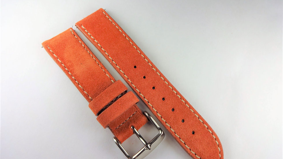 Replacement 18mm Orange Genuine Suede Leather