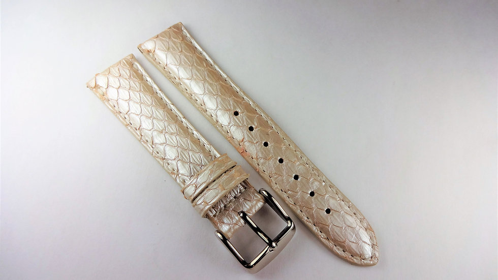 Replacement 18mm Pinkish Silver Genuine Snakeskin