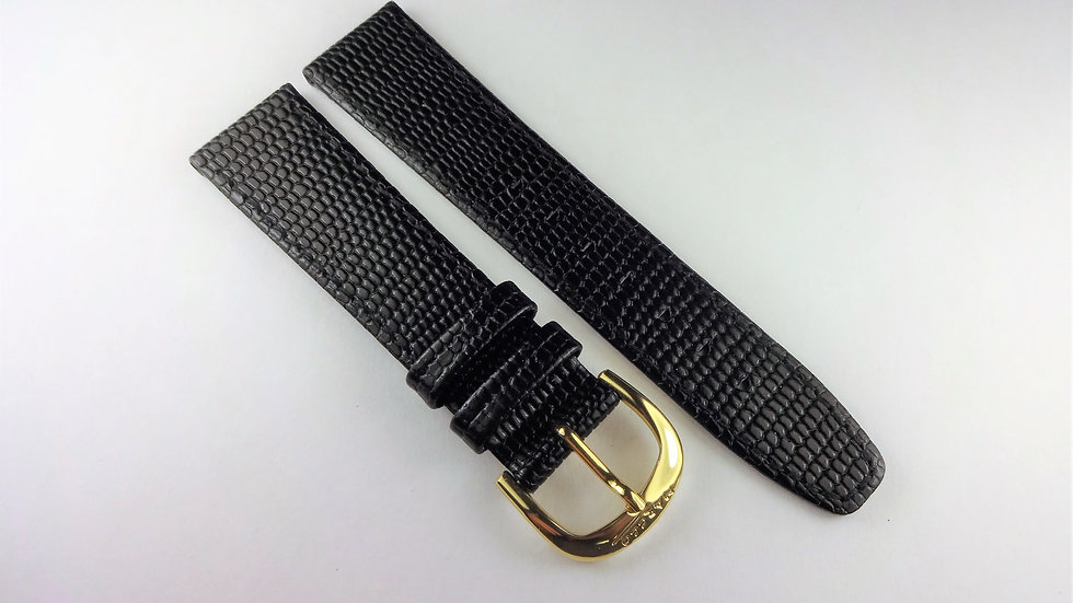 Replacement 18mm Black Genuine Leather Lizard Grain