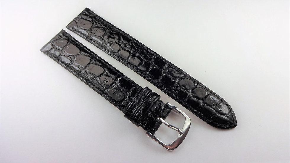 Replacement 17mm Black Genuine Leather Crocodile Grain