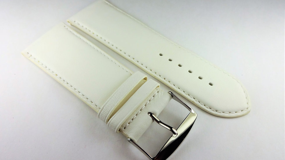 Replacement 28mm White Genuine Box Plain Leather