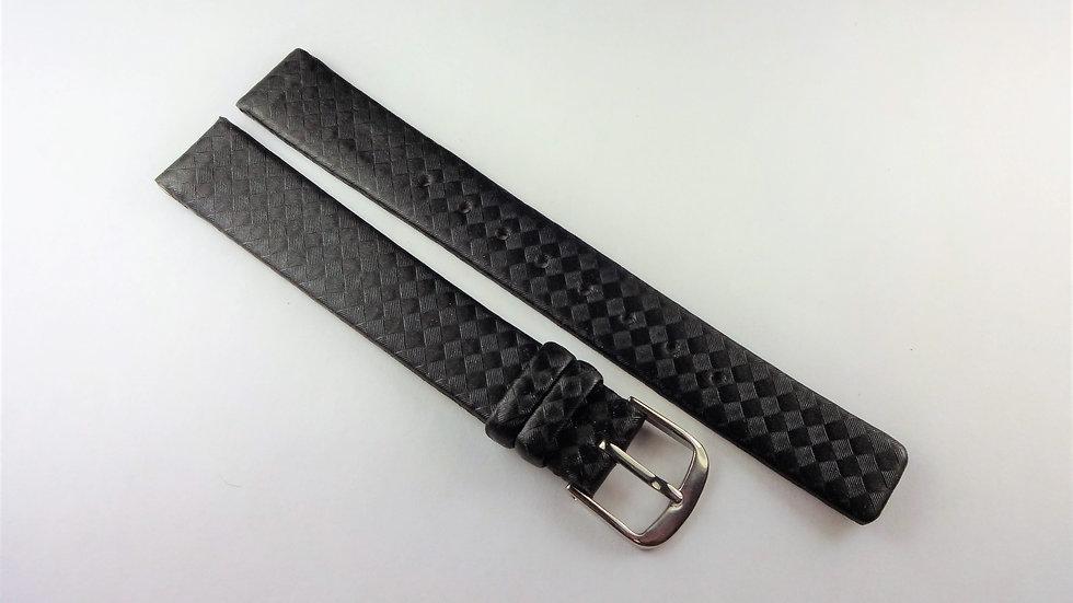 Kenneth Cole 13mm Black Genuine Leather Carbon Fiber Finish