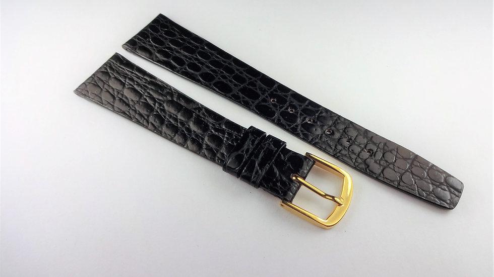 Concord 19mm Black Genuine Leather Crocodile Grain