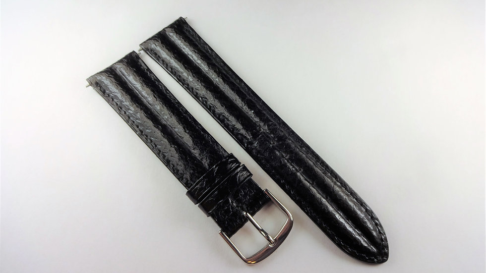 Seiko 20mm Black Genuine Leather Salmon Grain