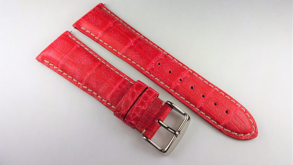 Replacement 24mm Red Genuine Alligator