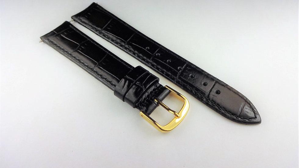 Cyma 18mm Black Genuine Leather Croco Grain