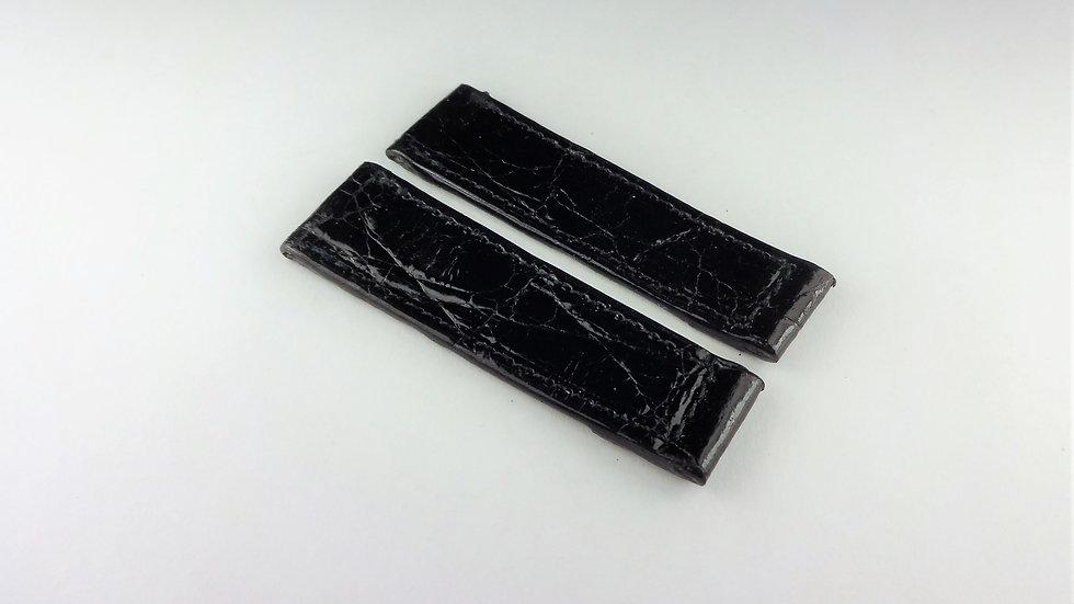 Replacement 14mm Black Genuine Crocodile Short