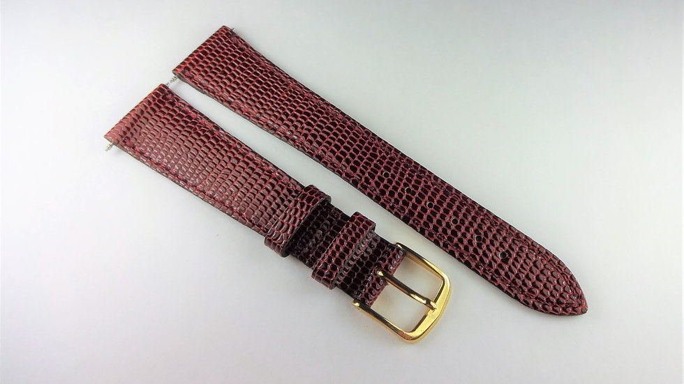 Replacement 19mm Wine Genuine Leather Lizard Grain