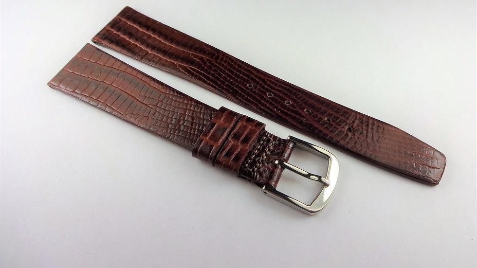Rotary 18mm Brown Genuine Leather Lizard Grain