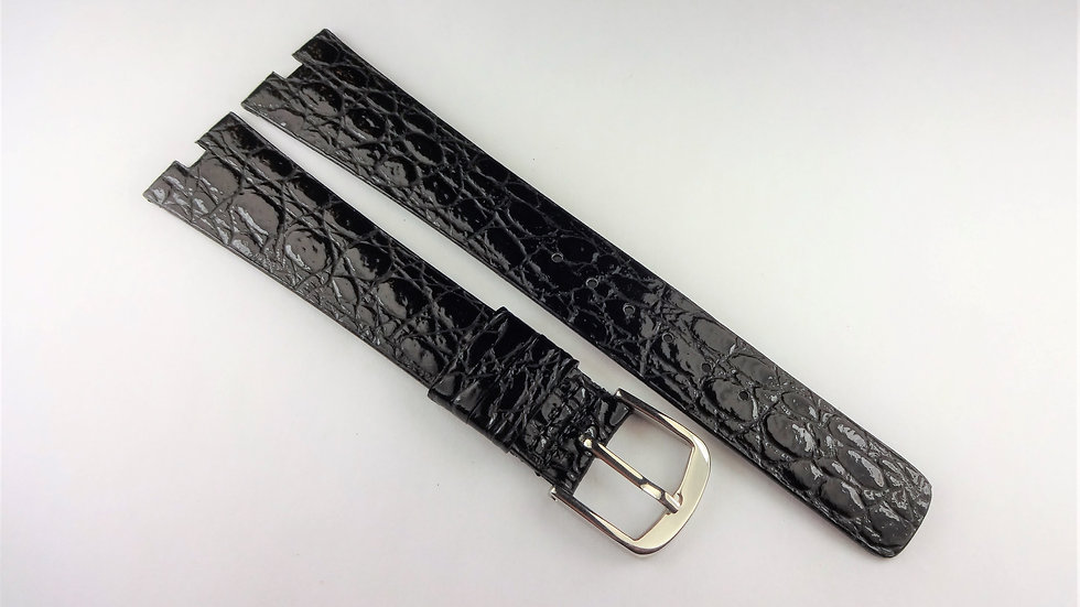 Replacement For Cartier Black 18mm Baby Croco Grain On Calf