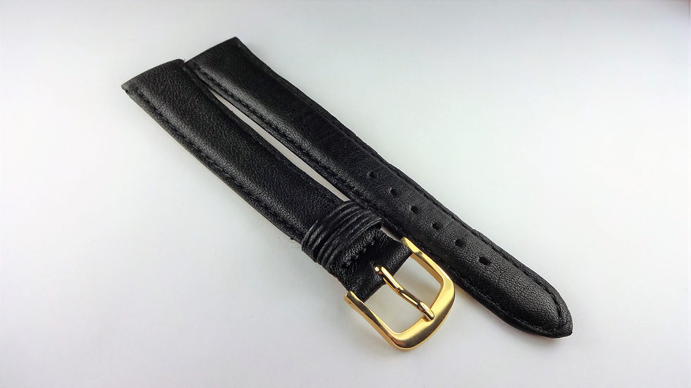 Replacement 16mm Black Genuine Leather Made in France