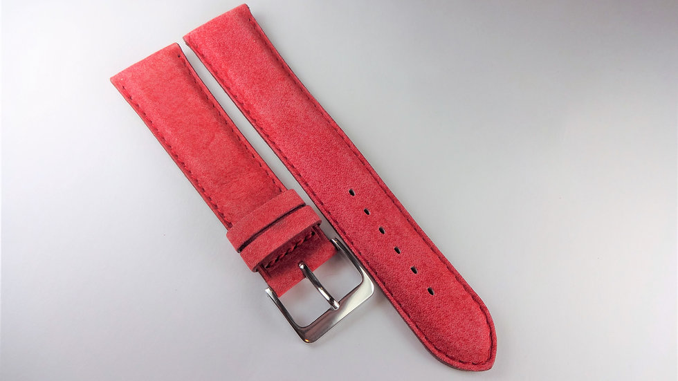 Replacement 20mm Red Genuine Calfskin Suede Finish