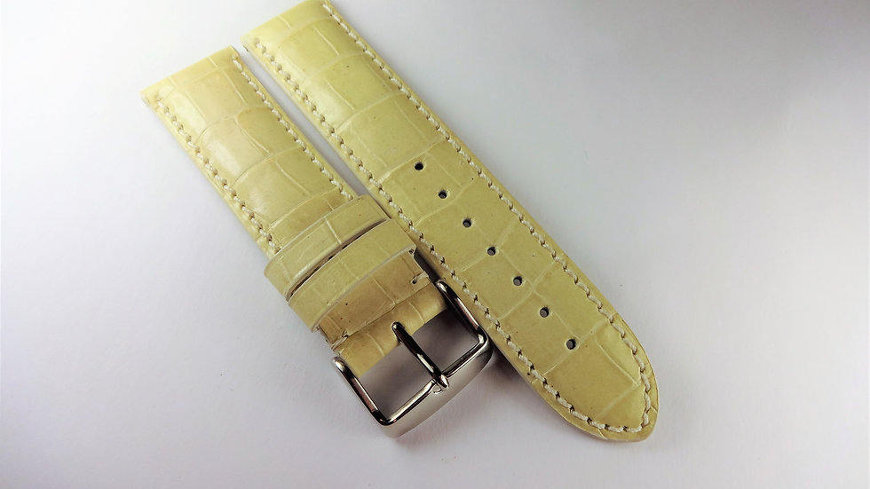 Replacement 20mm Cream Genuine Leather Alligator Grain