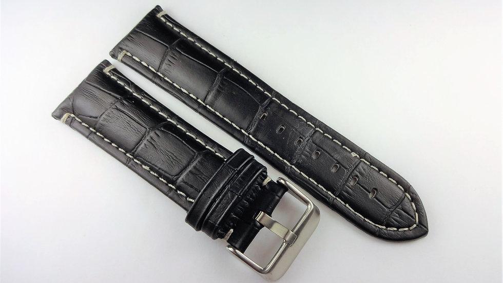 Replacement 24mm Black Genuine Leather Alligator Grain