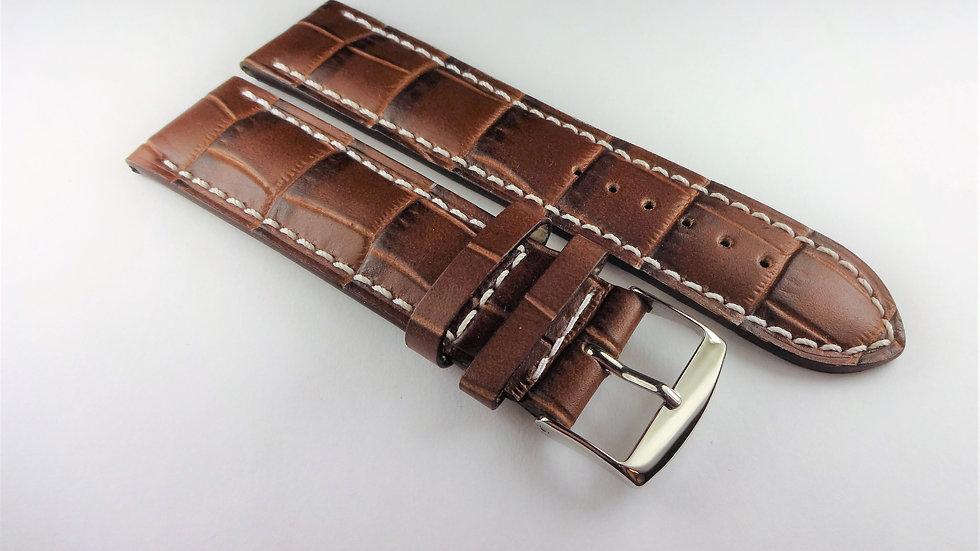 Replacement Calfskin Alligator Grain Leather 22mm Brown