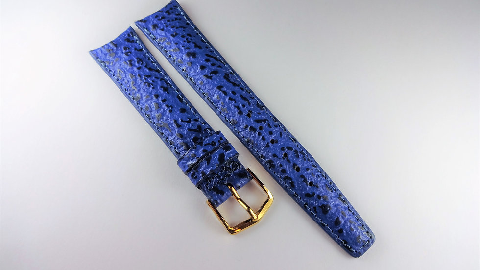 Replacement 18mm Blue Genuine Calfskin Shark Grain