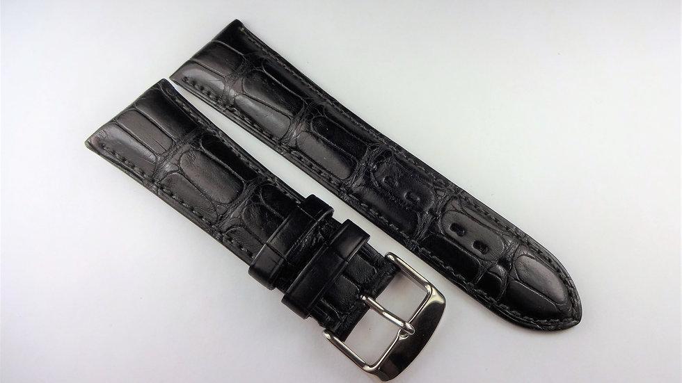 Replacement 24mm Black Genuine Louisiana Alligator