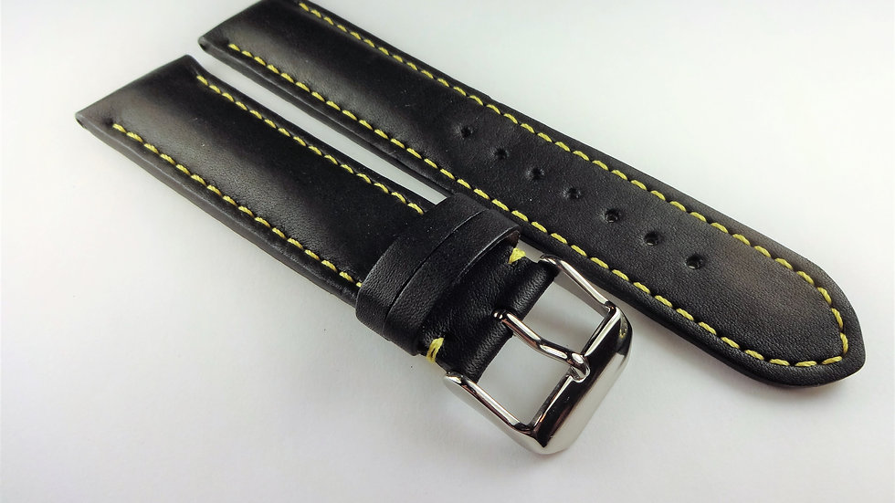 Replacement Black Cowhide Leather 22mm Yellow Stitching