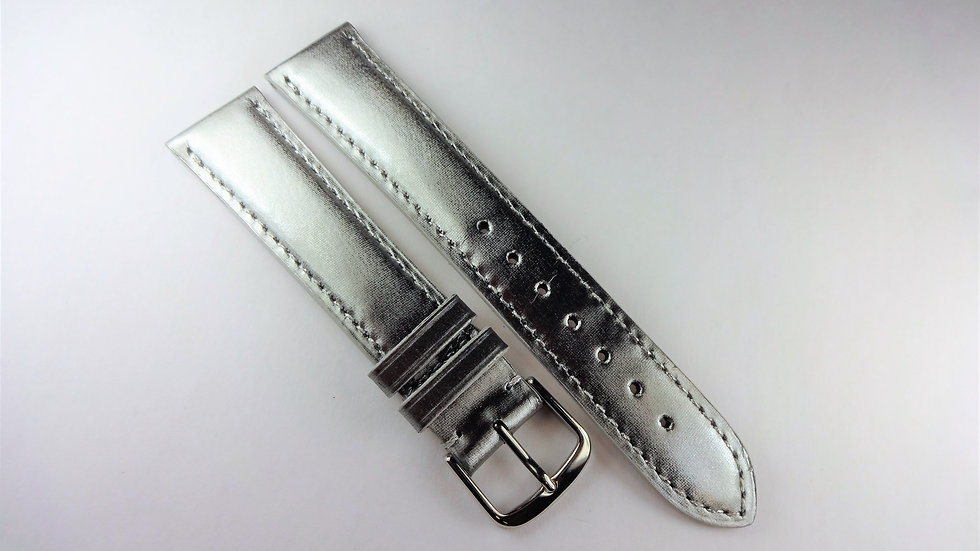 Replacement 18mm Silver Genuine Satin Leather