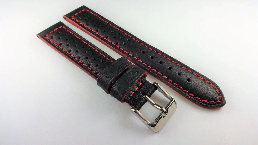 Racing/Rally Perforated Genuine Leather 18mm Black
