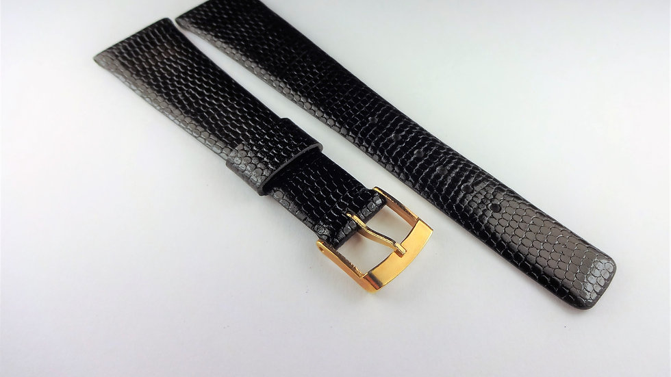 Bulova 19mm Black Genuine Leather Lizard Grain