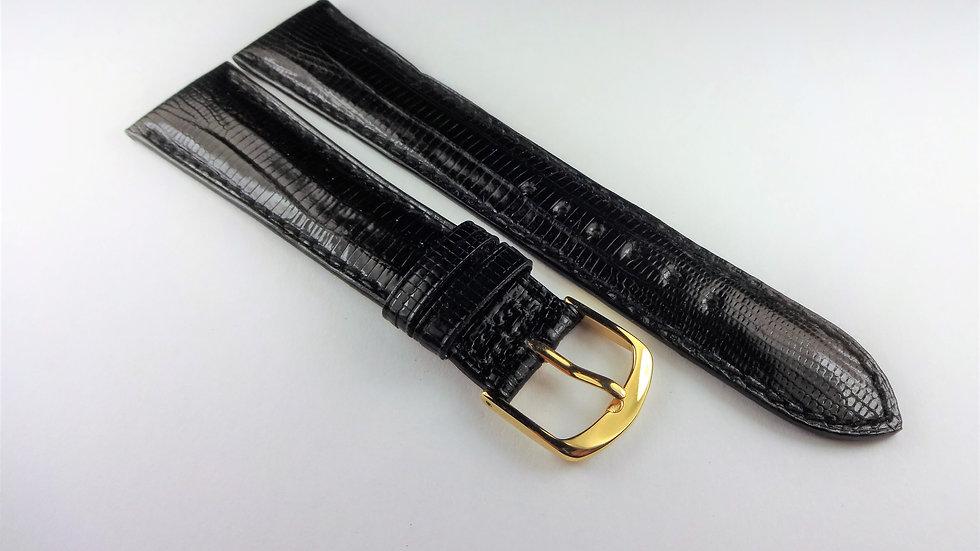 Barneys New York 20mm Black Genuine Leather Lizard Grain