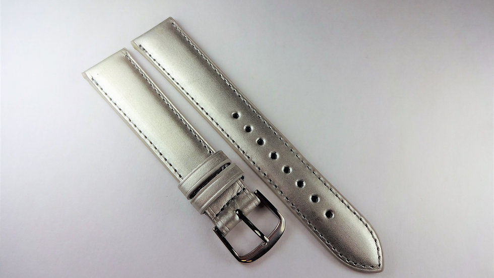 Replacement 18mm Silver Genuine Satin Calfskin