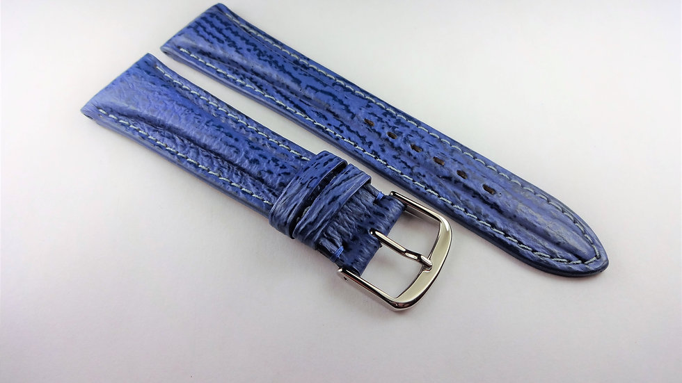 Replacement 21mm Blue Sharkskin Contrast Stitching