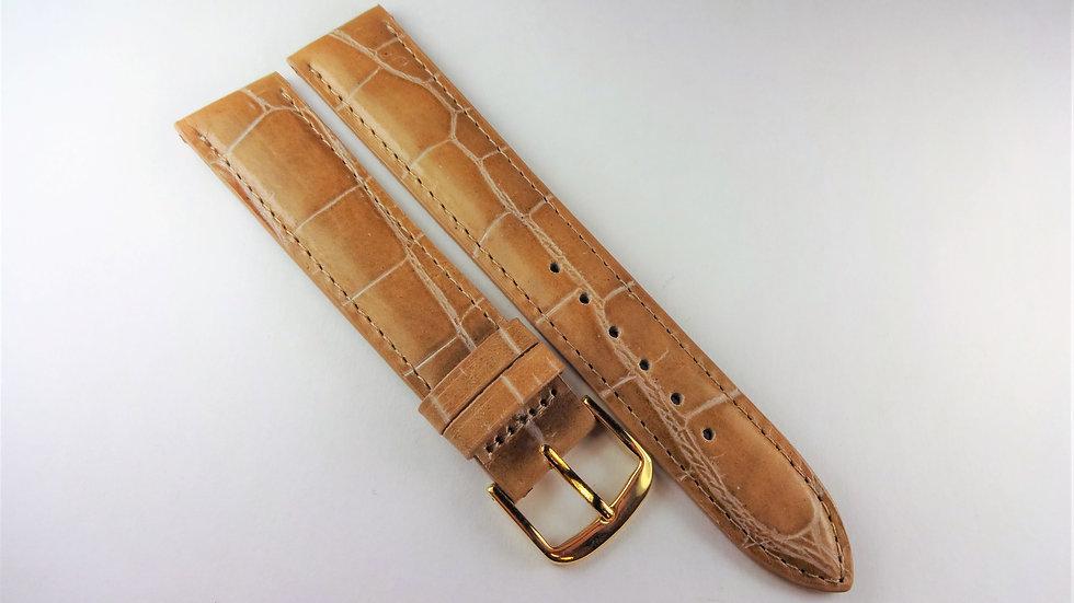 Replacement 18mm Sepia Brown Genuine Calfskin Alligator Grain