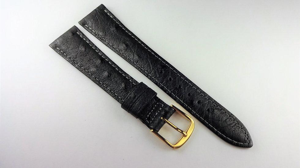 Replacement Black 18mm Ostrich Grain On Pigskin