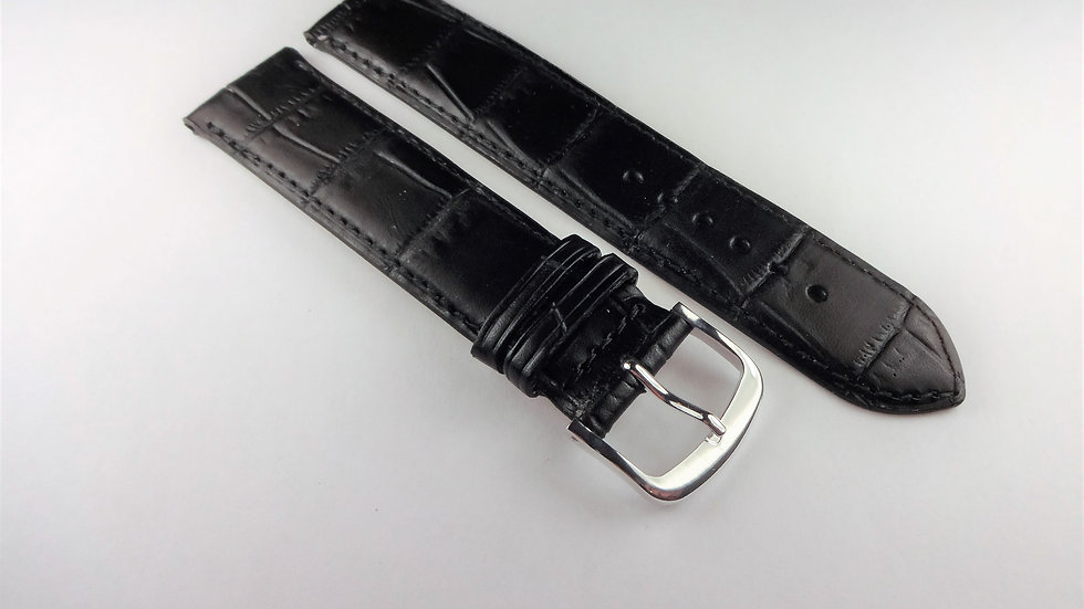 Replacement 19mm Black Genuine Leather Crocodile Grain
