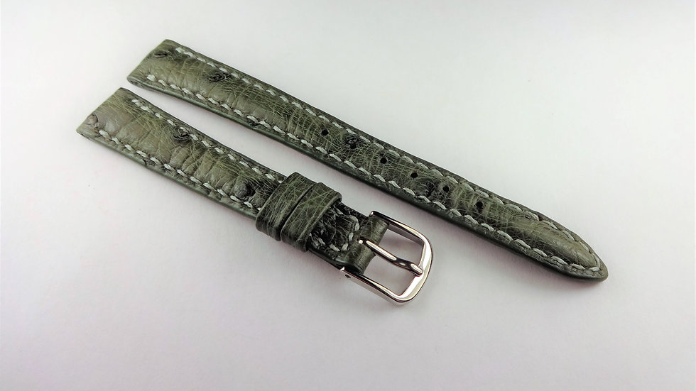 Replacement 12mm Green Genuine Ostrich Hand Stitched