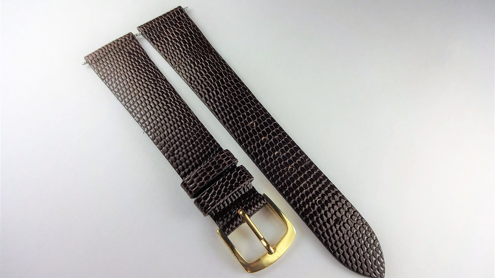 Replacement  18mm Brown Genuine Leather Lizard Grain