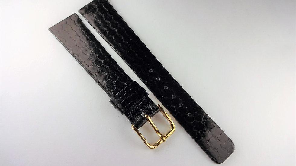 Seiko 18mm Black Genuine Leather Snakeskin Grain