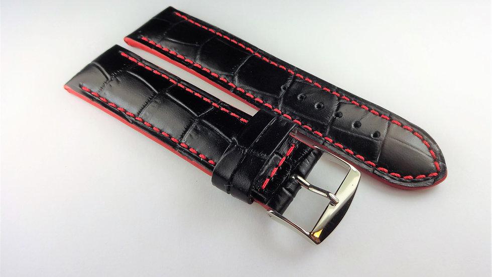 Replacement Calfskin Alligator Grain Leather 22mm Black
