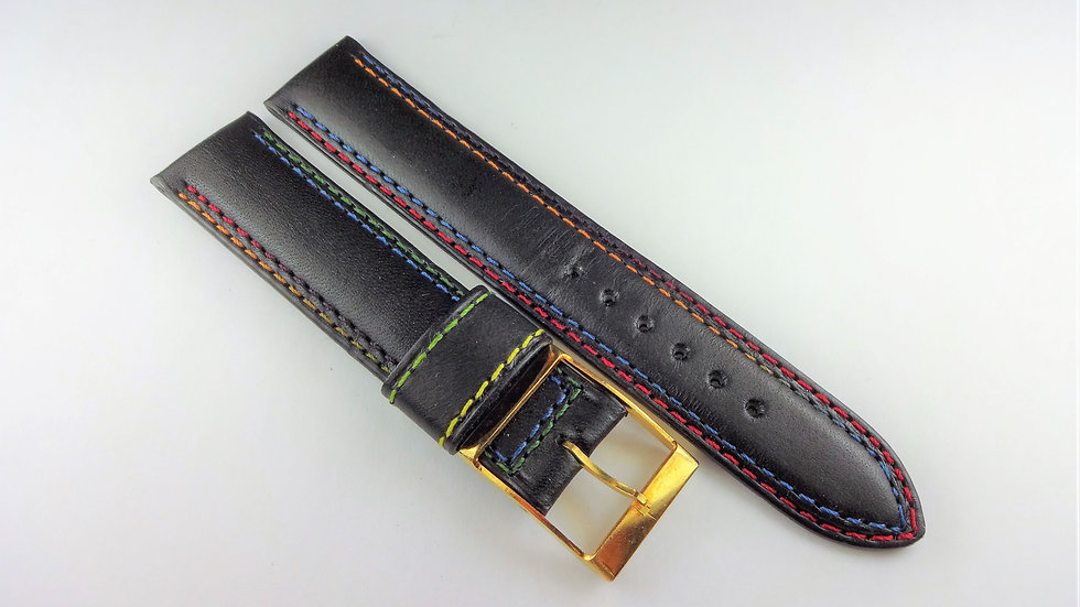 Replacement 18mm Black Genuine Western Leather Multi-Color Stitching