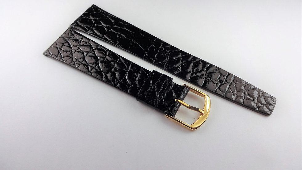 Concord 21mm Black Genuine Leather Crocodile Grain