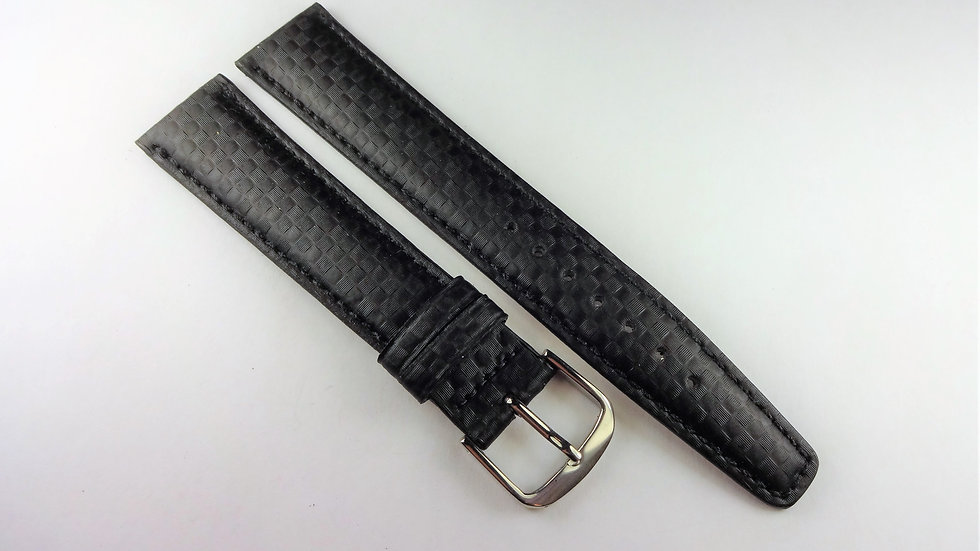 Replacement Black 18mm Genuine Leather Carbon Fiber