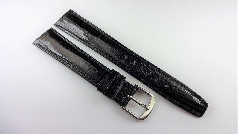 Replacement 17mm Black Genuine Teju Lizard