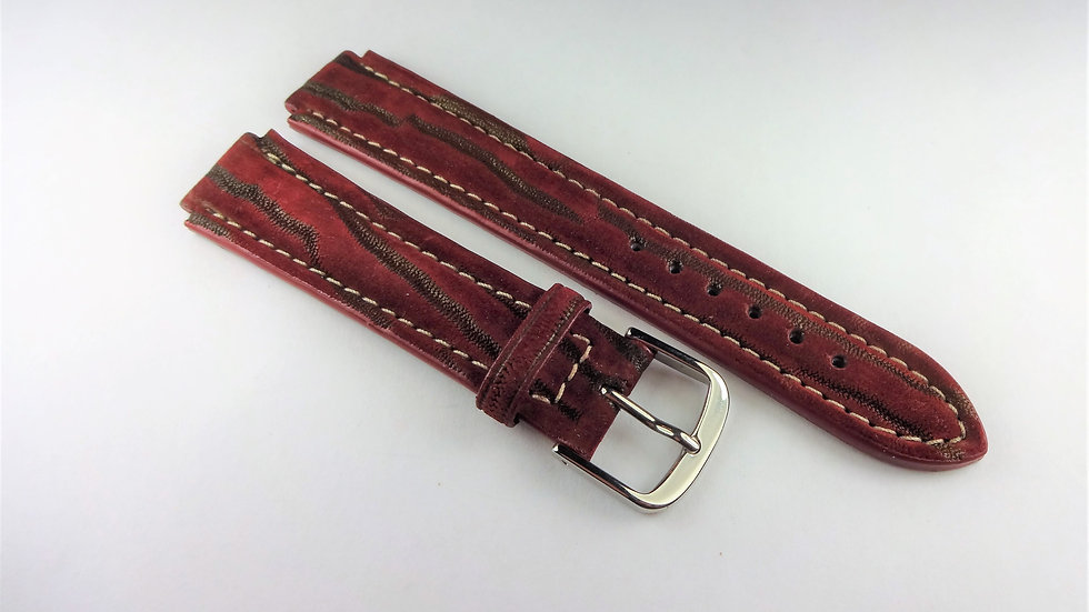 Replacement 14mm Wine Genuine Nubuck Leather Divers Cuts