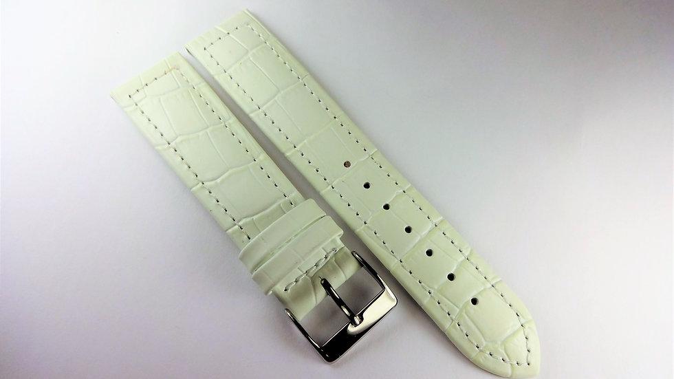 Replacement 20mm White Genuine Leather Alligator Grain