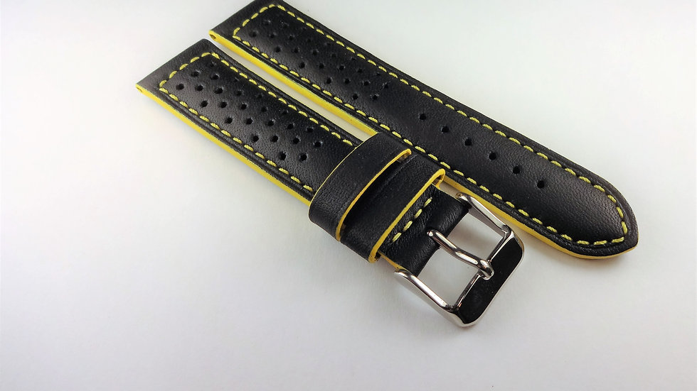 Racing/Rally Perforated Genuine Leather 20mm Black