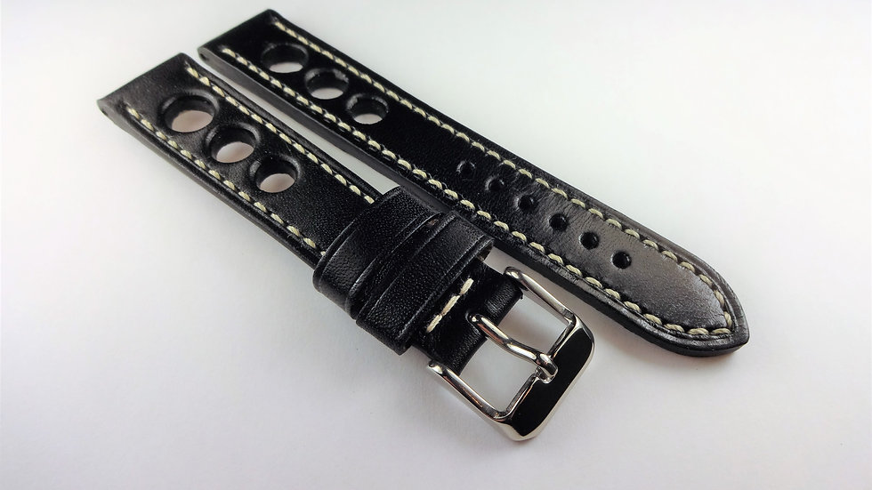 Racing/Rally Black Genuine Leather 18mm White Stitching