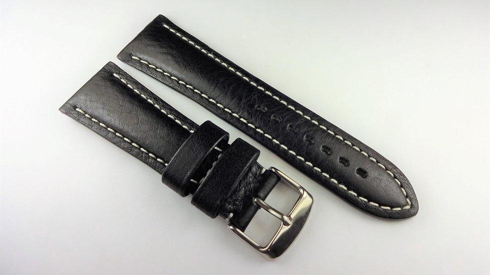 Gevril 24mm Black Genuine Leather Hand Made