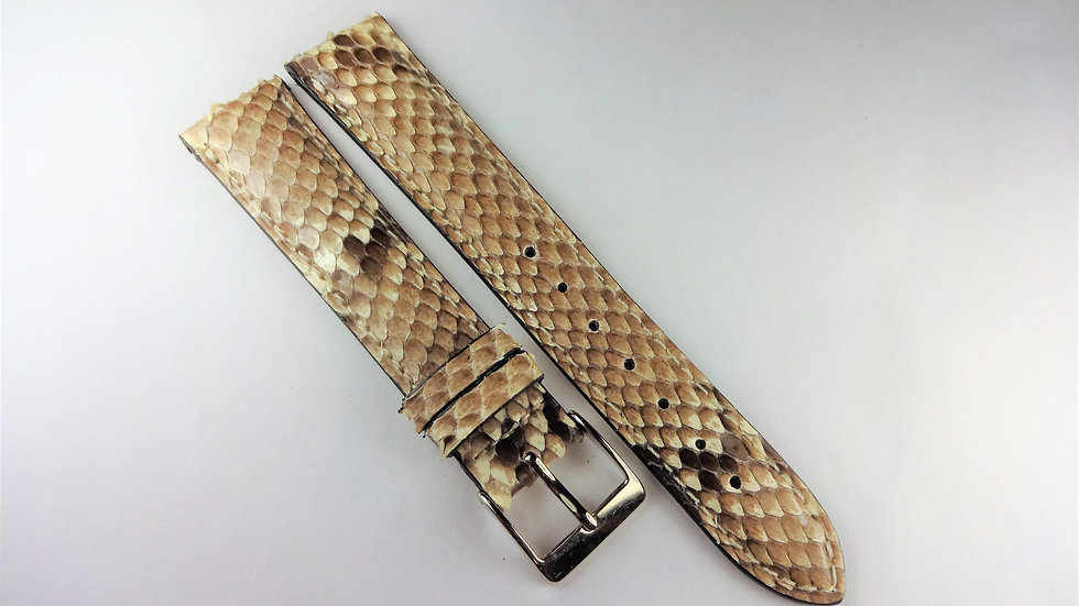 Replacement 18mm Cream/Brown Genuine Python