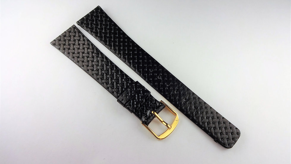Replacement Black 18mm Genuine Embossed Braided Calf