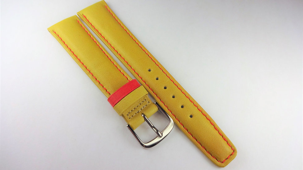 Replacement 18mm Yellow Genuine Leather Contrast Stitching