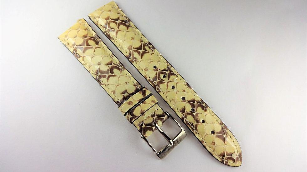 Replacement 18mm Cream/Brown Genuine Snakeskin